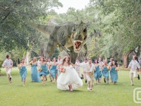 Dinosaur Wedding Portrait Goes Viral